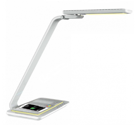 LED desk lamp with Qi wireless charging, touch control, intelligent memory function, a multi angle rotational head and 3 colour temperature modes including a night light and 3 dimmable levels of brightness. White