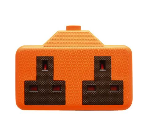 2 Gang Impact Resistant Extension Socket (Colour Orange)