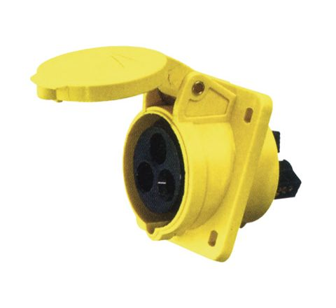 110 V Yellow 16 A 3 Contact High Current Angled Outlet Panel Mount