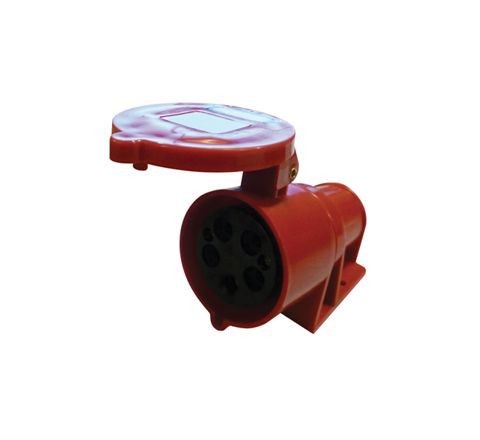 400 V Red 32 A 5 Contact High Current Angled Outlet Wall Mount