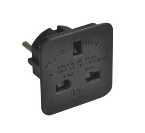 Travel Adaptor (UK to European Schuko) 7.5A (Colour Black)