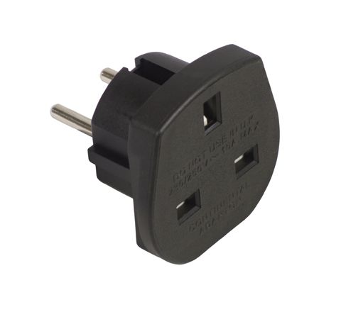 Travel Adaptor (UK to European Schuko) 10A (Colour Black)