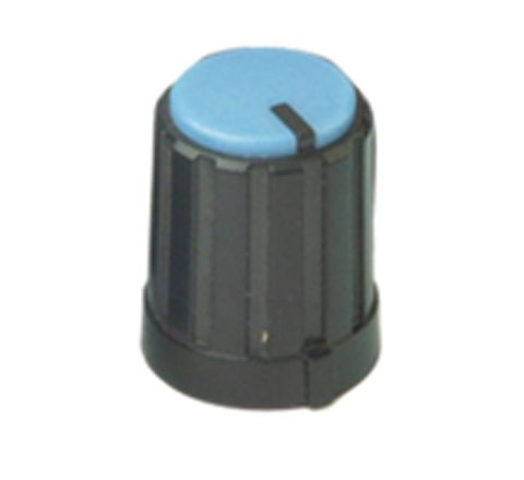 6mm Rotary Pointer Knob with Coloured Cap and Push On Fitting (Cap Colour Blue)