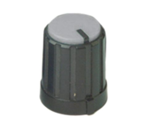 6mm Rotary Pointer Knob with Coloured Cap and Push On Fitting (Cap Colour Grey)