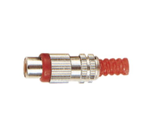 Phono Metal Line Socket with Colour Coded Band and Solder Terminals (Colour Red)