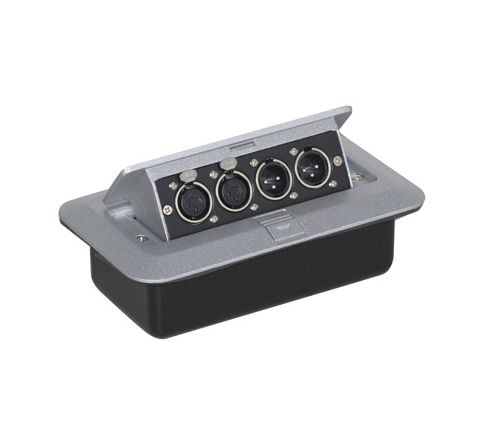 Pop-up AV Combination Plate with 3 Pin Chassis Plugs & XLR Sockets