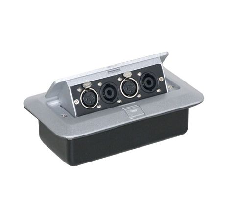 Pop-Up AV Plate With 4 Pole Speaker Connectors & 3 Pin XLR Connectors
