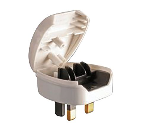5A Euro Converter Plug 2 Pin VDE to 3 Pin UK (Colour White)