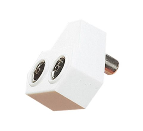Right Angled Coaxial Y Splitter with Line Plug to 2x Line Sockets