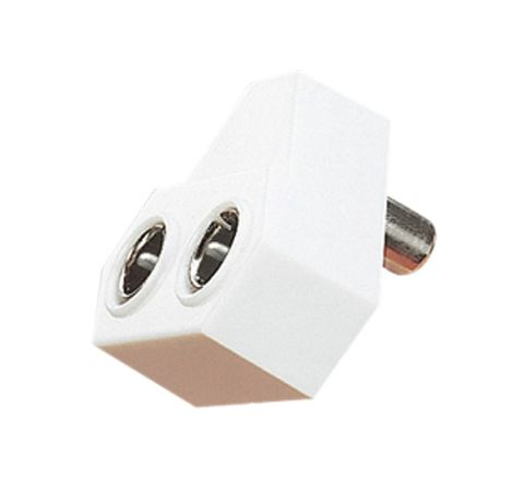 Right Angled Coaxial Y Splitter with Line Socket to 2x Line Plugs