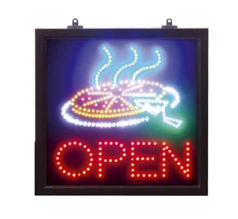 LED Multi-coloured Static Pizza/Open Sign