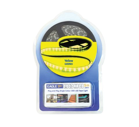Eagle 12V IP65 Single Colour LED Tape Light Kit 5M In-line PSU (Colour Yellow)