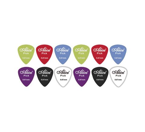12 Assorted Matte Colour ABS Guitar Picks  (Thickness (mm) 0.81)