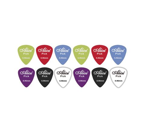 12 Assorted Matte Colour ABS Guitar Picks  (Thickness (mm) 0.96)