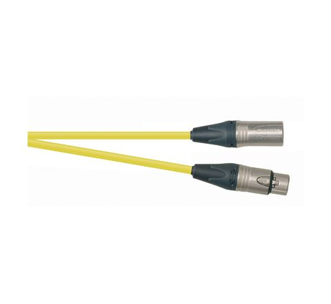 Professional 1m 3 Pin XLR Line Socket to 3 Pin XLR Line Plug Screened Patch Lead With Neutrik Connectors and European Cable (Colour Yellow)