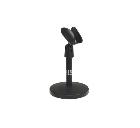 Desk Microphone Stand With Round Base and Microphone Clip in Black