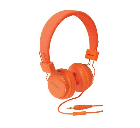 Solid Colour Smartphone Stereo Headphones with Microphone (Colour Orange)