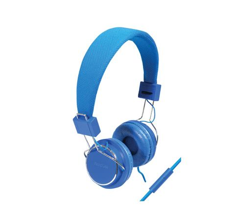 Solid Colour Smartphone Stereo Headphones with Microphone (Colour Blue)