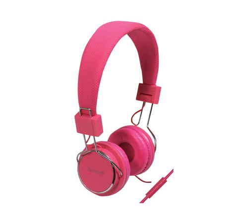 Solid Colour Smartphone Stereo Headphones with Microphone (Colour Pink)