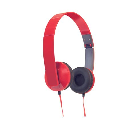 Slim Profile Folding Stereo Headphones (Colour Red)
