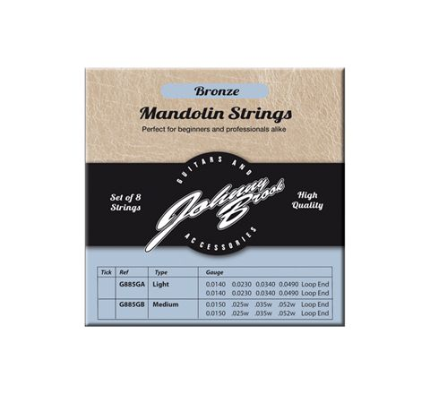 Set of 8 High Quality Bronze Mandolin Strings  (Gauge Light)