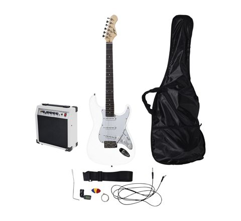 Johnny Brook Standard Guitar Kit with 20W Colour Coded Combo Amplifier (Colour White)