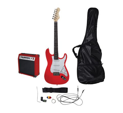Johnny Brook Standard Guitar Kit with 20W Colour Coded Combo Amplifier (Colour Red)
