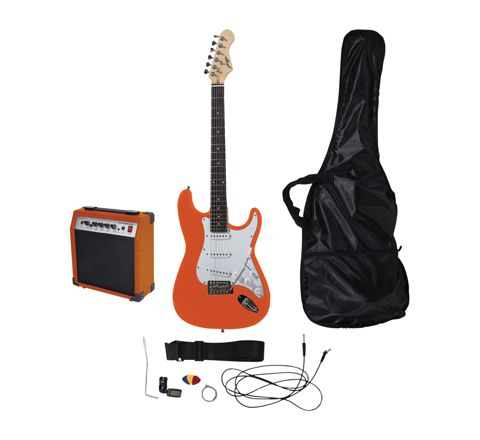 Johnny Brook Standard Guitar Kit with 20W Colour Coded Combo Amplifier (Colour Orange)