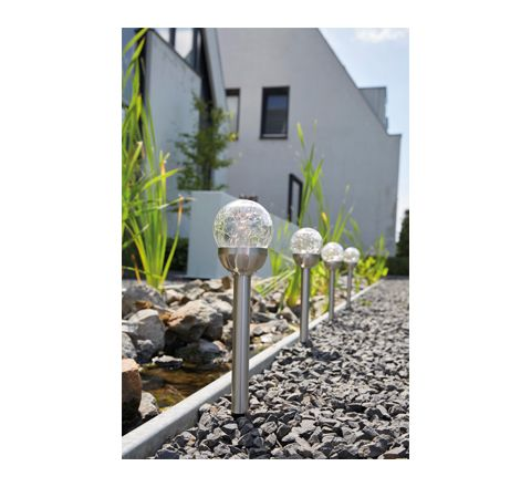Luxform Lighting Bolero Solar Spike Light with Crackle Glass in Stainless Steel - Pack of 5