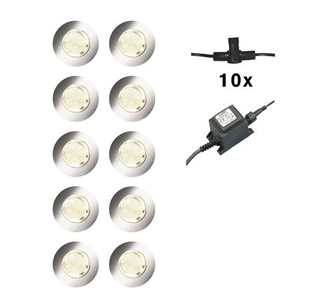 Luxform Lighting 10 Set Calypso Deck Light in Stainless Steel