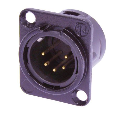 Neutrik NC5MD-L-B-1 Male  5 Pin XLR Chassis Connector With Gold Plated Contacts