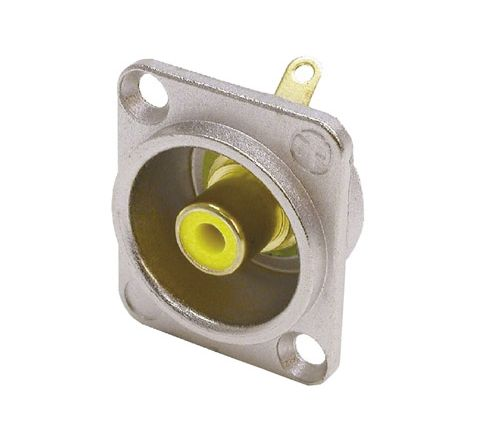 Neutrik NF2D Professional D Plate Mounted Phono Chassis Socket With Gold Terminals and Colour Coding (Colour Nickel/Yellow)