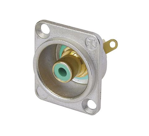 Neutrik NF2D Professional D Plate Mounted Phono Chassis Socket With Gold Terminals and Colour Coding (Colour Nickel/Green)
