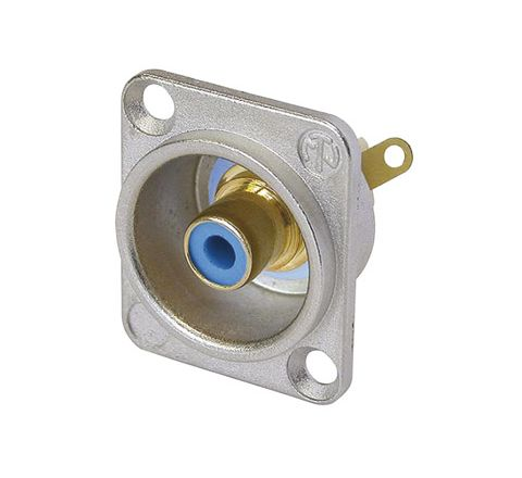Neutrik NF2D Professional D Plate Mounted Phono Chassis Socket With Gold Terminals and Colour Coding (Colour Nickel/Blue)