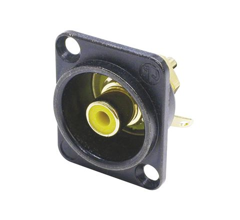 Neutrik NF2D Professional D Plate Mounted Phono Chassis Socket With Gold Terminals and Colour Coding (Colour Black/Yellow)