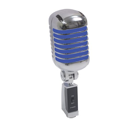 NJS Retro Style Side Address Vocal Microphone (Colour Silver/Blue)