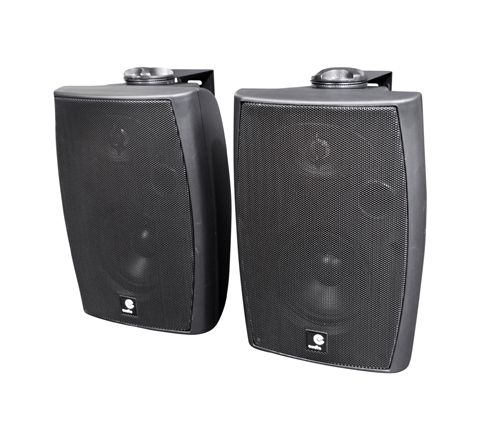 E-Audio 60w Active Wall Mounted Speakers with Bluetooth & Auxiliary Input (Colour Black)