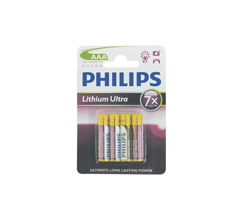 Philips Lithium Ultra Batteries BLISTER (Size AAA Carton Qty. 4)