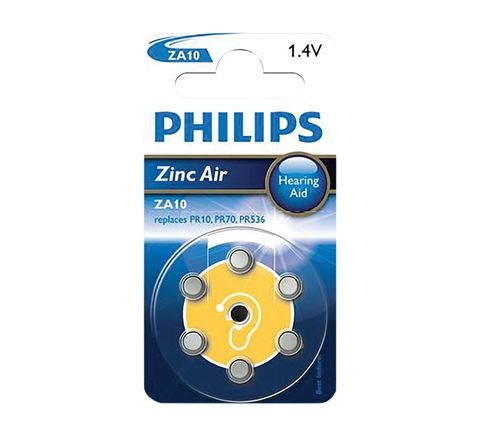 Philips Hearing Aid Battery 6 Pack (Type ZA10)