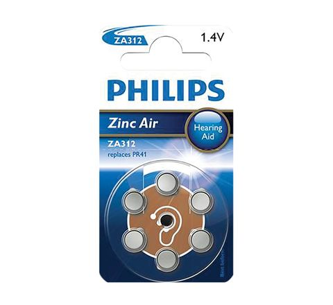 Philips Hearing Aid Battery 6 Pack (Type ZA312)