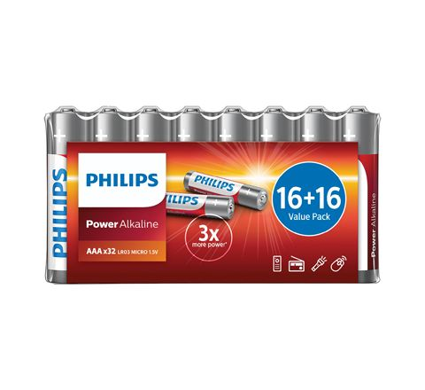 Philips Power Alkaline Batteries - Shrink Wrap Value Pack (Size AA Carton Qty. 32)