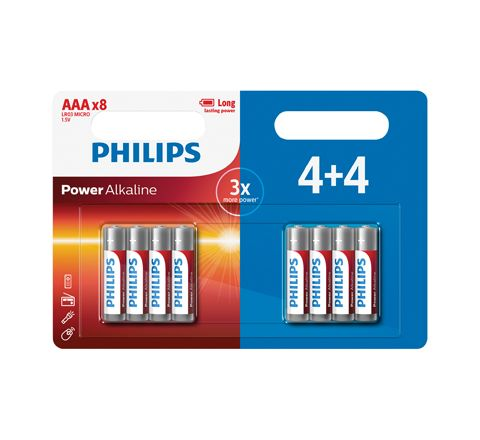 Philips Power Alkaline Batteries - 4+4 Promotional Pack (Size AAA)