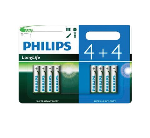 Philips LongLife Zinc Chloride Batteries - 4+4 Value Pack (Size AAA)