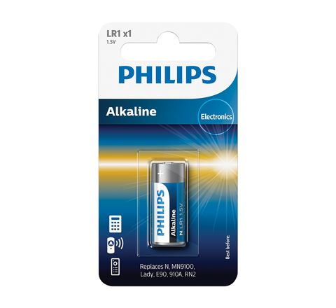 Philips Special Alkaline 12 V A23 Battery (Card of One) (Type LR1 (MN9100) Voltage (V) 1.5)
