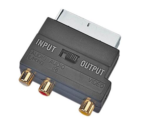 Switched Scart Plug to 3 Gold Plated Phono Sockets Adaptor