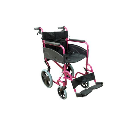 Compact Transport Aluminium Wheelchair (Colour Deep Pink)