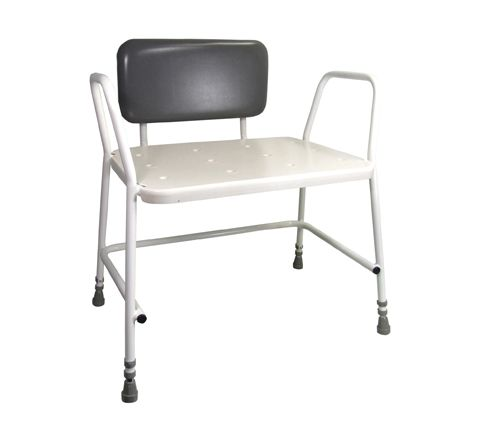Portland Bariatric Height Adjustable Shower Stool (Configuration With Padded Back Support)