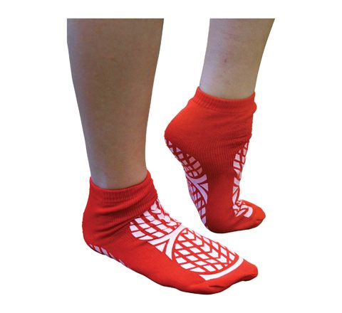 Aidapt Double Sided Non Slip Patient Slipper Socks (Size Medium UK 7.5-9.5 Colour Red)
