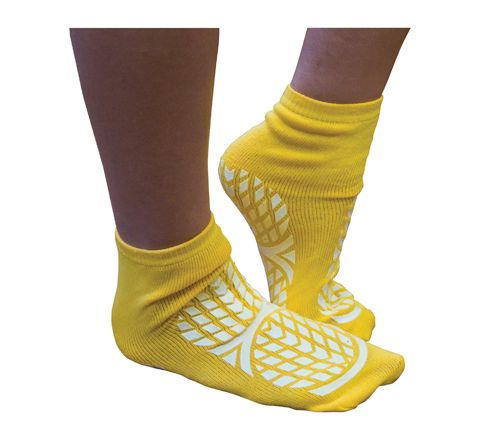 Aidapt Double Sided Non Slip Patient Slipper Socks (Size Small UK 4-7 Colour Yellow)