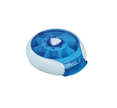 Compact Weekday Pill Dispenser (Colour Blue)